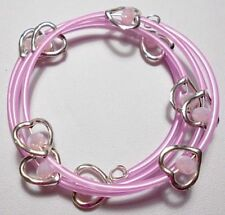 Hearts + pink glass beads memory wire wrap bracelet