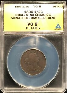 1806 Half Cent Sm 6 N.S. C-1 ANACS VG-8 Details - Scr/Dam/Bent ==FREE SHIPPING!