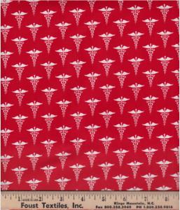 Windham Fabrics Calling All Nurses Nurse Symbol Red Cotton Fabric by the Yard