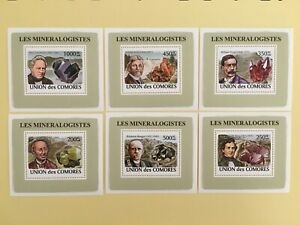 Comoro Islands 2008 Mineralogists Minerals Gem Famous People 6 S/S Stamps MNH