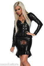 80437 Giacca + Gonna Aderenti in PVC WetLook Nero con Inserto Centrale Stringato