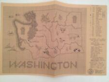 Vtg Sue Hillis Designs Cross Stitch Chart Washington State Map Pattern c 1979 NR