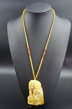Hand Carved Dragon Pendant Natural Baltic Amber Handmade w/ Amber Bead Chain