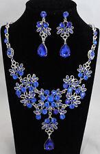 Schmuckset Damen Ohrringe, Kette Collier mit Kristallen und Stras blau 2tlg. NEU