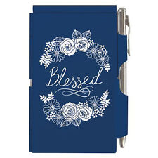 Wellspring Visor Clip Note Pad for your Car - Blessed #2395 Blue Floral