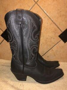 EUC Ariat 10011952 Black Leather Cowboy Western Boots sz 9 B FREE SHIPPING