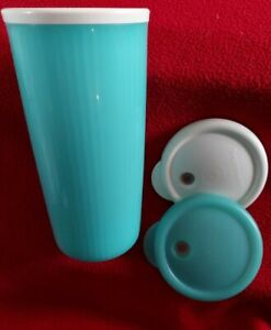 Tupperware Teal Green 24 Oz Insulated Tumbler 2 White Seals Travel Cup Leakproof