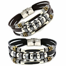 HOT WOMENS/MENS VINTAGE HEMATITE BEADS STAINLESS STEEL CLIPS LEATHER BRACELET