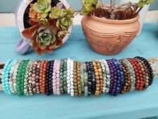 Natural Gemstone Bracelet Round Spacer Loose Beads 4mm 6mm 8mm Assorted Stones