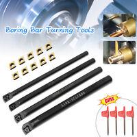 4Pcs SCLCR06 Turning Tools Lathe Boring Bar + T8 Wrenchs + 10 Insert Blade Set