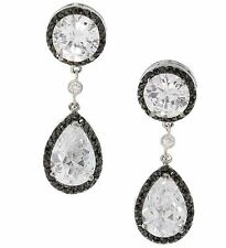 Luxury and Formal Round and Pear Cubic Zirconia Drop Earrings