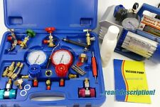 AC Refrigerant Vacuum Pump Gauge manifold Set Kit R134A R32 R410a Split tool