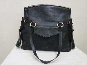 DOONEY & BOURKE FLORENTINE Large Black Leather Shoulder Handbag Purse Tote Mint!