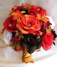 17 piece Bouquet wedding flowers package bouquets Bridal flower ORANGE LILY FALL