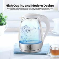 Chef's Star 1.7 Liter Electric Fast Boiling Stainless Steel Glass Tea Kettle