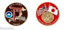 ARMY USARJ JAPAN CROSSED FLAGS MILITARY BASE CHALLENGE COIN