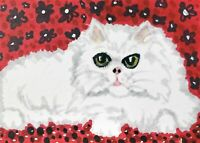 Persian Lounge Cat ACEO Original Miniature Art Painting Vintage Style by KSams