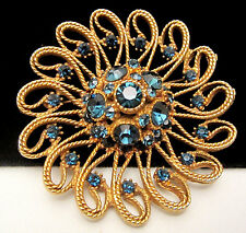 "Rare Vintage 2-1/2"" Signed HAR Gold Tone Sapphire Blue Rhinestone Brooch Pin A74"