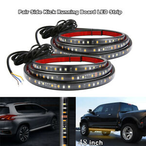 "2x 48"" White/Amber Running Board Side Step LED Light Strip Turn Signal DRL Bar"