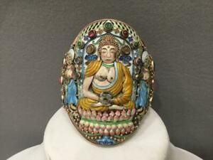 VERY RARE UNIQUE ANTIQUE CHINESE GILT SILVER ENAMEL BUDDHA GEMS CUFF BRACELET