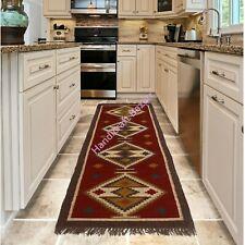 Wool Jute Area Rug Runner Indian Kilim Floor Rug Vintage Handmade Dhurrie Carpet