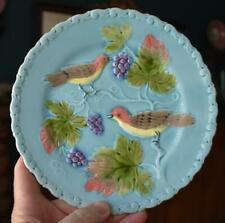G S ZELL ANTIQUE GERMAN MAJOLICA ROBIN'S EGG BLUE BIRD BERRY WALL CABINET PLATE