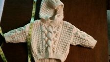 Handmade Aran Hooded Baby Sweater