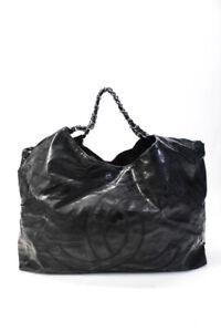 Chanel Coco Cabas Gobo Satchel Handbag Black