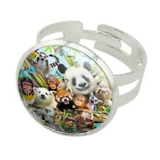 Animal Buddies Selfie Panda Polar Bear Silver Plated Adjustable Novelty Ring