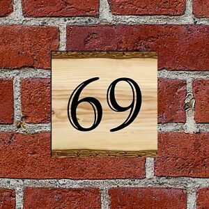 """6"""" Square Wood Effect House number name sign 3mm PVC 51-99 all numbers available"""
