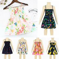 Toddler Baby Kids Girls Summer Sleeveless Strap Dress Print Dress Casual Clothes