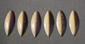6 - Worth Mfg #5 Custom Paint ~White Purple Shad~ Willow Leaf Spinnerbait Blades