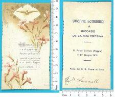 Ricordo di Cresima - San paolo Civitate 1919 - firma del reverendo