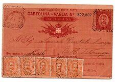 1894 REGNO 5 VALORI SU CARTOLINA VAGLIA DA 1 LIRA VIAGGIATA C/4651