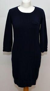 Laura Ashley Navy Cotton Cashmere mix Knit Jumper Dress Size 12 UK