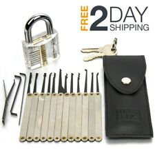 Beginners Lock Picking Kit Practice Pick Tool Transparent Padlock 16 Piece Set