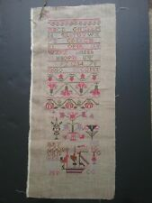 antique reproduction sampler cross stitch completed 1985 needlework pinks green