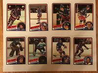 Lot of Eight (8) 1984-85 Topps NHL Hockey New York Rangers Cards (Maloney)