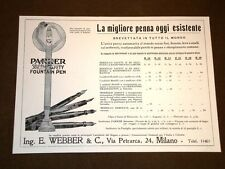 Pubblicità epoca per collezionisti Anno 1918 Penna stilografica Parker