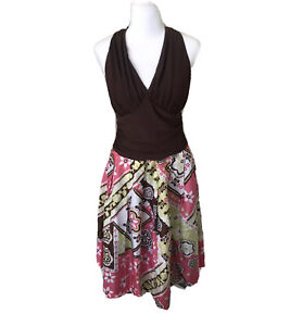 Suzi Chin for Maggy Boutique Women Floral Dress Brown 8 Halter Top Tropical Silk