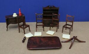 Renwal Doll House Furniture Dining Room w lamp 15 Pcs Mint NOS 50s 1:16 Ideal