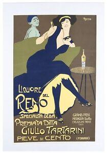 """French Poster """"Liquore del Reno, 1909"""" by Remo Branca Lithograph Poster w/ CoA"""