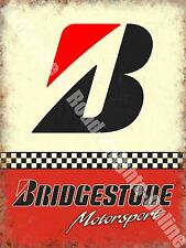 Vintage Garage Bridgestone Tyres, 153 Racing Motor Car Old, Small Metal/Tin Sign