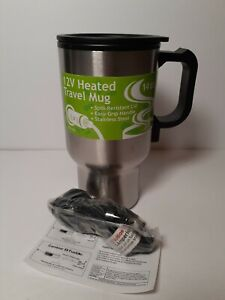 Stainless steel Heated 14oz Travel Mug with 12V Auto Power Adapter New