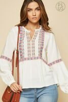 Plus Size 1X-3X Boho Peasant Embroidered Poplin Babydoll Top Tunic Blouse White