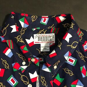 Alberto Bandit Button Down Shirt Nautical Novelty Blue Multi Men's Cotton XXL