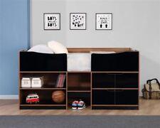 Birlea Paddington Black Gloss Walnut 3ft Single Storage Cabin Bed Mid Sleeper