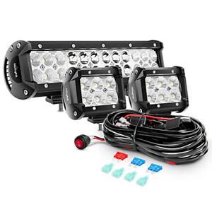 Nilight ZH016 12 Inch 72W Spot Combo Bar 2PCS 4 Inch 18W Flood LED Fog Lights...