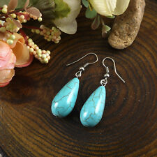 Fashion Tibet Silver Vintage Waterdrop Turquoise Dangle Earring Hook Woman Gift