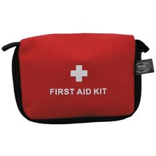 RED FIRST AID KIT CASED SMALL TRAVEL HIKING CAMPING FISHING CAR ARMY EMERGENCY